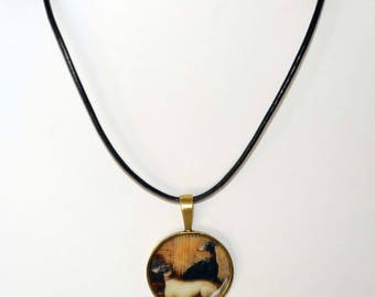 Altered Art Tapestry Greyhound Dogs Pendant Necklace