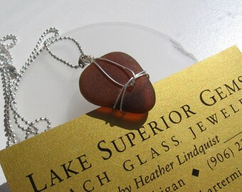 Beautiful Rootbeer Brown Real Lake Superior Beach Glass Pendant Necklace