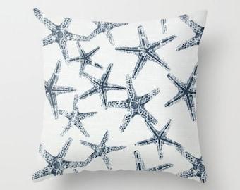 Starfish Pillow Cover Navy Pillow Nautical Pillow Throw Pillow Accent Pillow Size Choice