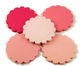 2 Inch Sclloped Circles   Paper Die Cut Two Inch Circles   in  Pink Pop  Quantity 50