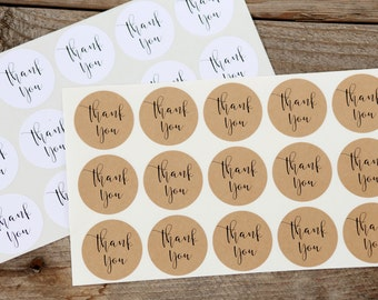 Thank You Stickers - for Wedding Favors, Jar Labels, Envelope Seals, Baby or Bridal Showers