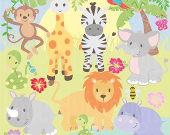 Jungle Animal Clipart-Safari Clipart-Jungle Clip Art-Zoo Animal Clipart-Baby Animal-Cute Animals-Monkey-Giraffe-Lion-NurseryBUY2GET1MOREFREE