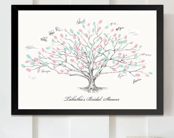 Bridal Shower Low Oak Tree Thumbprint Guestbook Print, Fingerprint Guest Book, Bridal Shower Gift Wedding, Alternative (8 x 10- 24 x 36)