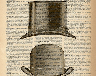 Dictionary Art Print - Fancy Hats - Upcycled Vintage Dictionary Page Poster Print - Size 8x10