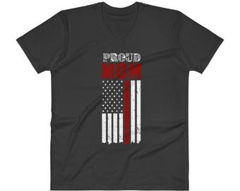 Proud Mom Thin Red Line Firefighter Shirt