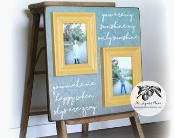 Mothers Day Gift, You are My Sunshine Frame, Grandma Gift, Yellow and Turquoise, Custom Quote Frame 16x16 The Sugared Plums Frames