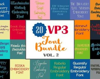 Machine Embroidery Fonts  - 20 VP3 Font Bundle - Volume 2 - 20 Husqvarna Viking