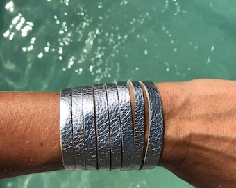 Silver slit leather cuff