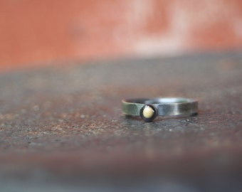 FAITH Oxidized Sterling Silver Mustard Seed Bezel Setting Resin Simple THIN Comfort Fit Stacking Band Ring