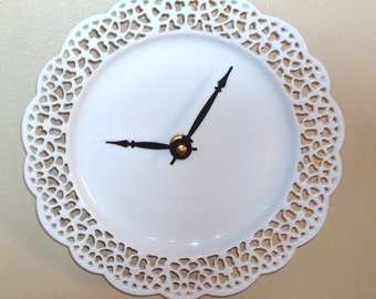 Small Lacy White Wall Clock 7-1/2 Inches, Lace Doily Clock, Porcelain Plate Clock, Unique Wall Clock - Minimalist Wall Decor - 2531