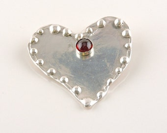 Sterling Silver And Red Rhinestone Heart Brooch With Inscription On The Back (14.6 grams)