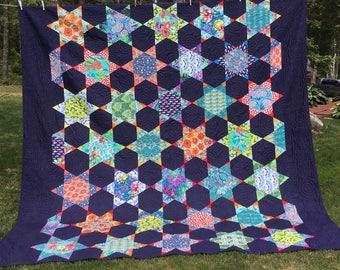 Queen Modern Quilt in array of Designer Fabrics