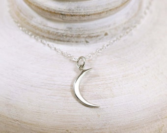 Crescent Moon Necklace, Sterling Silver Crescent Moon Necklace, Moon Necklace, Sterling Silver Moon Necklace, Cresent Moon Charm Necklace