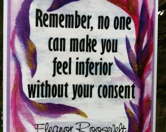 REMEMBER No One ELEANOR ROOSEVELT Inspirational Quote Motivational Print Classroom Typography Home Decor Heartful Art by Raphaella Vaisseau