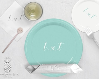 Wedding Party Plates, Napkins or Cups | Monogrammed Plastic Cups | Personalized Plastic Plates | Monogram Napkins | Personalized Stir Sticks