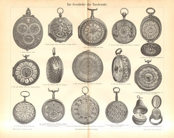 1897 Pocket Watches from 17th-19th Century Vintage Engraving Print