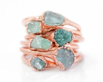 Raw / Aquamarine Ring / Birthday Gift / Raw Stone / Aquamarine Jewelry / Gift for Her / Raw Stone Jewelry / March / Boho Rings / Hand Made