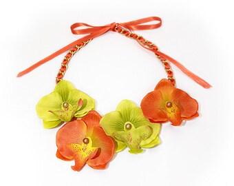 Summer Orchids Orange/ Green Bib fabric necklace