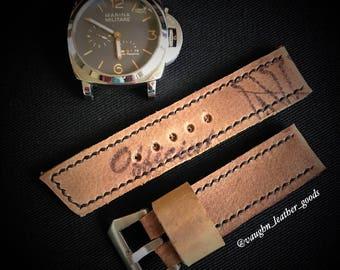 Handmade vintage NFL leather football watch strap