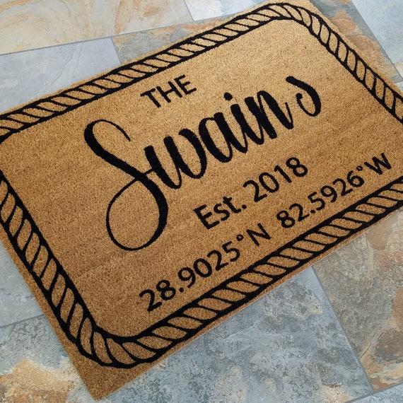 Nautical Doormat / Lat and Long Doormat /Personalized Doormat / Custom Doormat / Gift for Couple's / Family Gift / Unique Gift / Door Mats