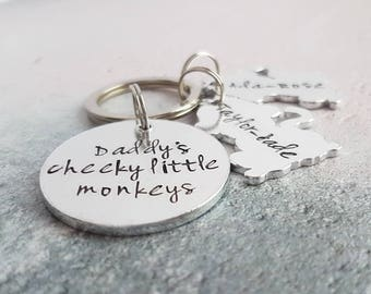 Personalised keyring, Daddy keyring, gift for dad, gift for him, personalised gift for dad, cheeky monkeys keyring, fathers day gift