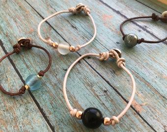 Single Bead Leather Bracelet, Glass Bead Bracelet, Leather Cord Bracelet, Simple Bracelet