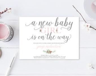 Baby Shower Invitation, Pink Baby Shower Invitation, Girl Baby Shower Invitation, Printable Baby Shower Invite, Trendy Printables [363]