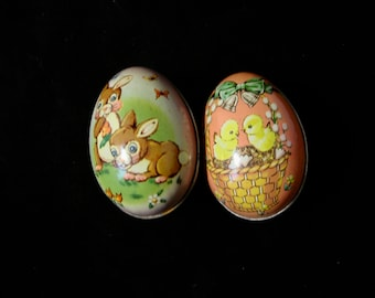 Vintage Set of 2 Lithographed Tin Easter Egg Candy Containers, ENGLAND