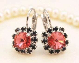 Black Coral Earrings Crystal Peach Drop earrings Leverback earrings real swarovski rhinestones Crystals Silver finish, Padparadscha, SE96