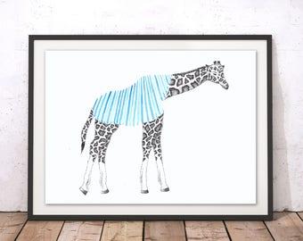 Giraffe Framed Print, Giraffe Print, Animal A4 Print