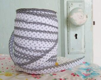 Gray on White Polka Dot Double Fold Crochet Edge Bias Tape (No. 213)