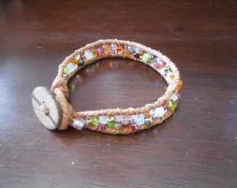 Glass and Cotton Ladder Bracelet with Gold Accents