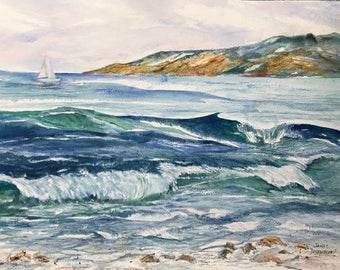 Original Watercolor Painting by Janet Dosenberry, Windy Strong Moving Waves, Waters of Turquoise & Blue With Whitecapes and a Rocky Shore
