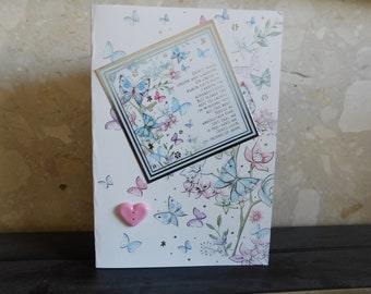 Handmade greetings card / good luck / female / love and best wishes
