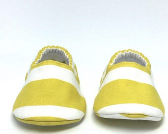 0-3mo RTS Baby Moccs: Mustard & White Stripes / Crib Shoes / Baby Shoes / Baby Moccasins / Vegan Moccs / Soft Soled Shoes / Montessori Shoes