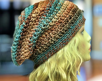Teals and Browns Slouchy Crochet Hat