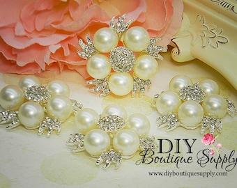 2 pcs Pearl Rhinestone Brooch Flatback Wedding Brooch Bouquet Bridal Crystal Bridal Brooch Great for shoe clips too 42mm 047071