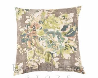 Gray Farmhouse Green Floral  Pillow Cover , Cotton Linen Blend, 18 x 18, 20 x 20, Throw Pillow , Farmhouse  Accent Pillow