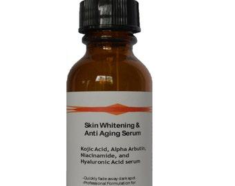 Skin Whitening Kojic Acid, Alpha Arbutin, Niacinamide, Hylauronic Acid Dark Spot Lightening Serum 2.3oz