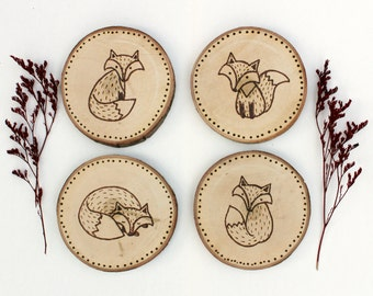 Folk Foxes Wood Coasters, Fox wood-burned coasters, Fox coasters, fox wall hanging