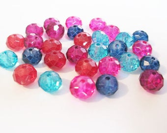 30 faceted beads 8mm glass color mix