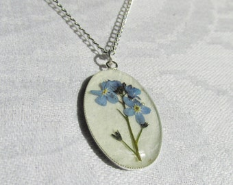 Pressed Flower Necklace Pendant Forget-me-nots