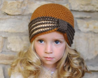 Crocheted Turban Hat, Vintage Hat (sizes: 1-3 years) - Ready to Ship