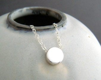 """NEW tiny circle bead necklace. sterling silver round dot small dainty jewelry. simple summer choker. delicate everyday minimalist gift. 1/4"""""""