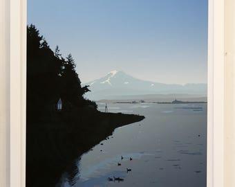 Mount Rainier art print; island view.