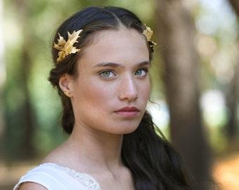 Dragon Greek Goddess Headband, Grecian style, Roman Headband, Gold Leaves Wreath, Golden Tiara, Bridal Hair accessories, Rear Headband