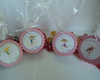 Gymnastics Party Favor Bags ( Set of 12 ) / Gymnastics Birthday Favors / Gymnastics Favors / Gymnast Birthday Favors / Tumbling Birthday