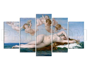 The Birth Of Venus Nascita Di Venere Sandro Botticelli Painting Canvas Print Gift 5 Panels