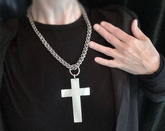 XL Silver Handmade Cross with Chainmaille Statement Necklace Gothic Jewelry / Cross Pendant / Handmade Cross Jewelry