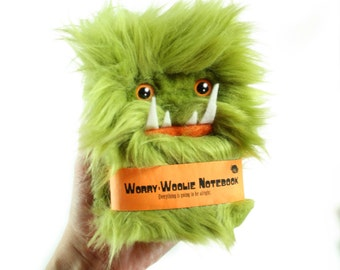 Notebook Worry-Woolie, a green and orange magical monster journal